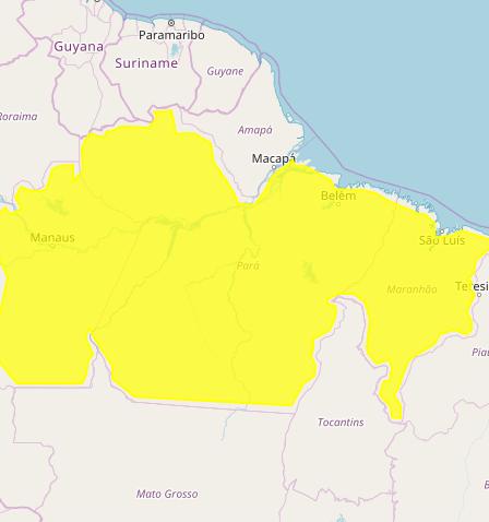 Mapa das áreas com previsão de altos acumulados nesta 2ª feira - Fonte: Inmet