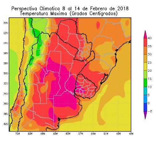 Perspectiva Agroclimática da Argentina 8-14 Fevereiro - Temperatura
