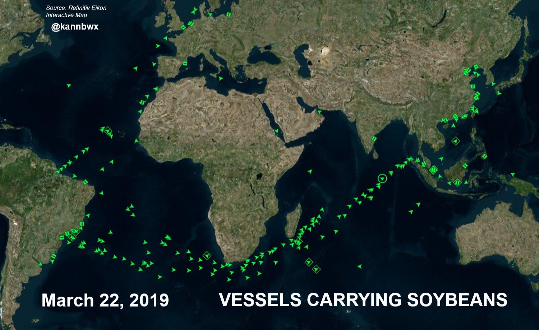 Fluxo de navios com soja - Março 2019