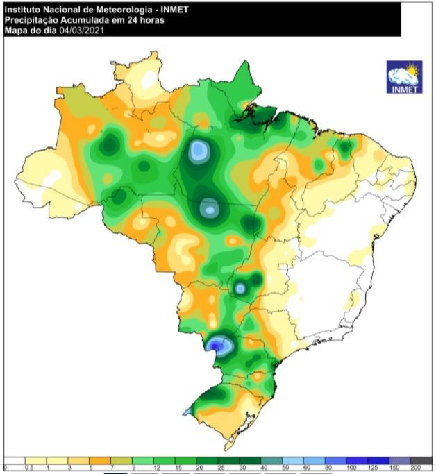 Mapa de acumulado de chuvas em 1 dia - 04.03.2021 - Fonte: Inmet