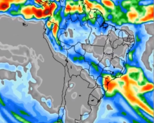 Mapa com a previsão de chuvas no Brasil na semana entre 22 e 28 de maio: - Fonte: Somar