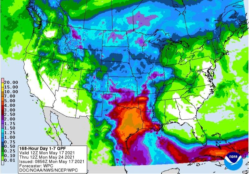 Chuvas previstas para os EUA nos próximos 7 dias - Fonte: NOAA