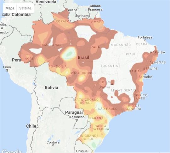 Acumulado de Chuvas nos últimos 5 dias - Fonte: Climatempo