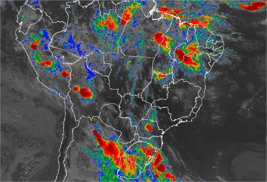 Imagem de satélite de todo o Brasil nesta quinta-feira (10) - Fonte: Inmet