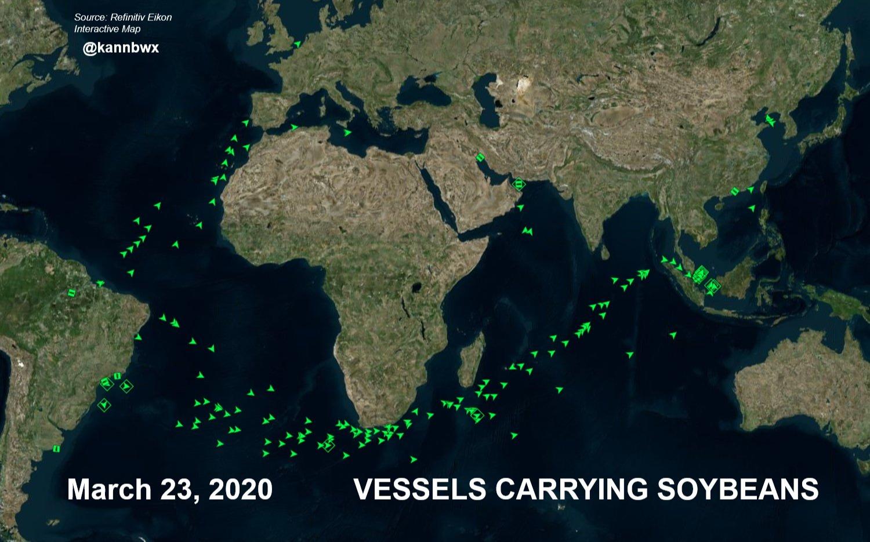 Fluxo de navios com soja - Março 2020