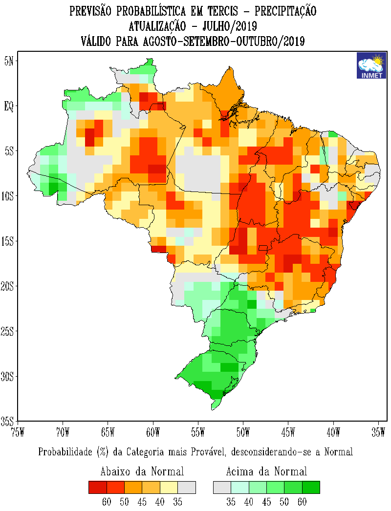 Mapa de previsão probabilística de precipitação do Inmet para agosto, setembro e outubro - Fonte: Inmet