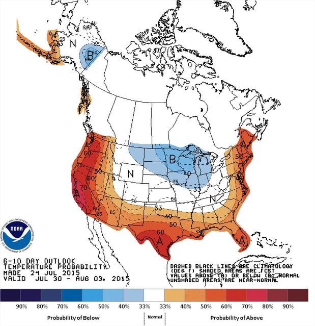 Temperaturas nos EUA entre os dias 30 de julho a 3 de agosto - Fonte: NOAA