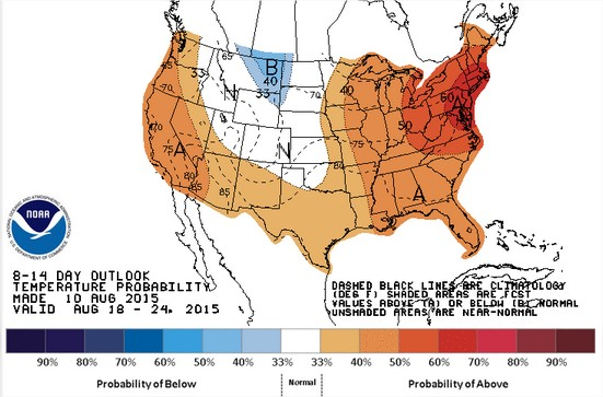 Previsão de temperaturas nos EUA para 18 a 24 de agosto - Fonte: NOAA