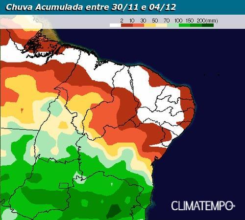Previsão de chuvas acumuladas de 30/11 a 04/12 - Fonte: Climatempo