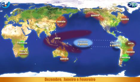 Efeitos do El Niño entre dezembro e fevereiro - Fonte: Cptec