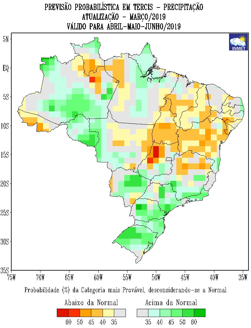 5320c55f58fe Mapa de previsão probabilística para todo o Brasil em abril, maio e junho -  Fonte