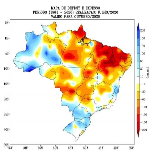 Outubro - Déficit Hídrico - Fonte: Inmet