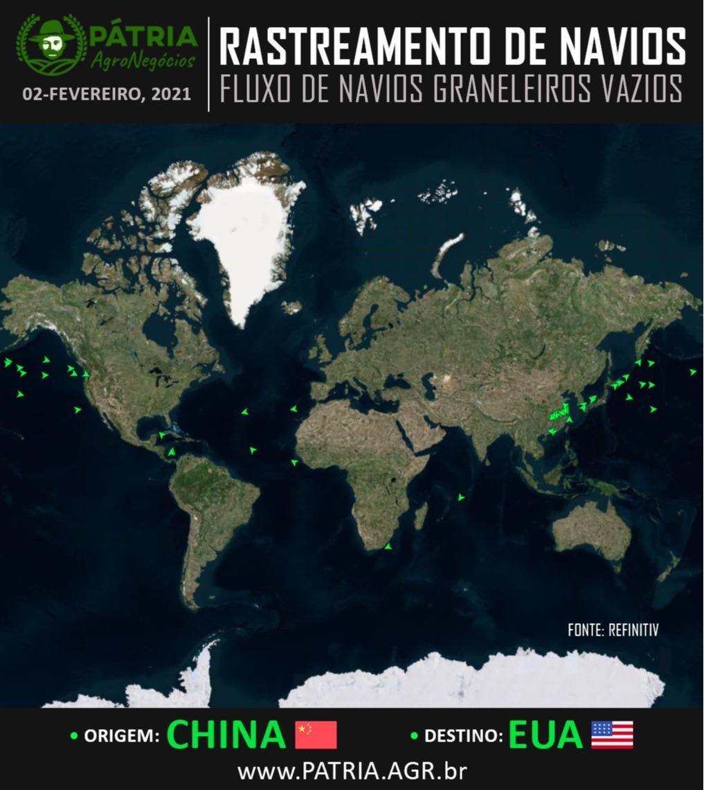 Navios vazios saindo da China para os EUA - Fonte: Pátria Agronegócios