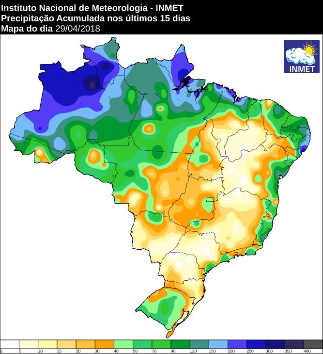 Mapa com precipitação acumulada nos últimos 15 dias em todo o Brasil - Fonte: Inmet