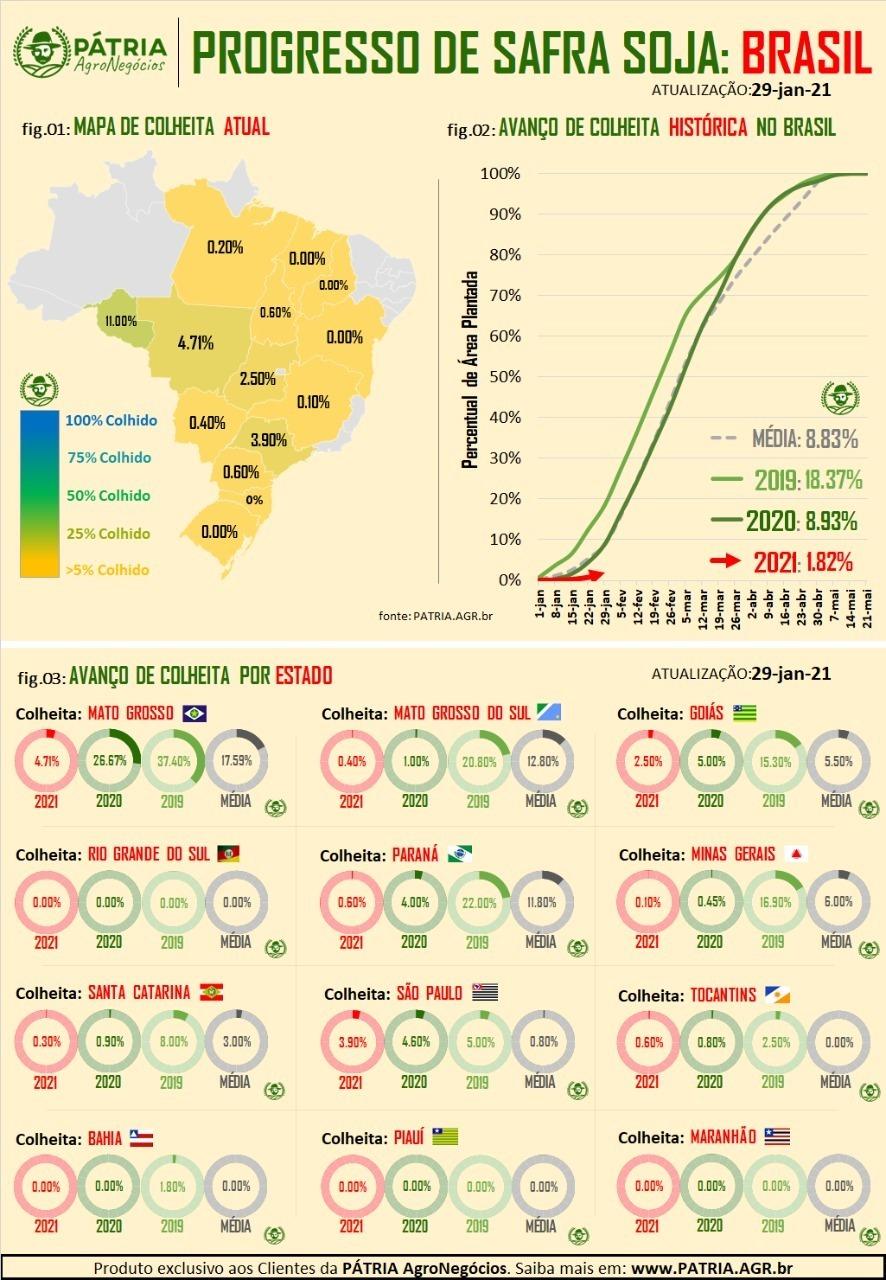 Colheita Soja Brasil 2020/21 - Fonte: Pátria Agronegócios