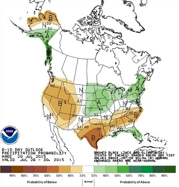 Chuvas nos EUA entre os dias 26 a 30 de julho - Fonte: NOAA