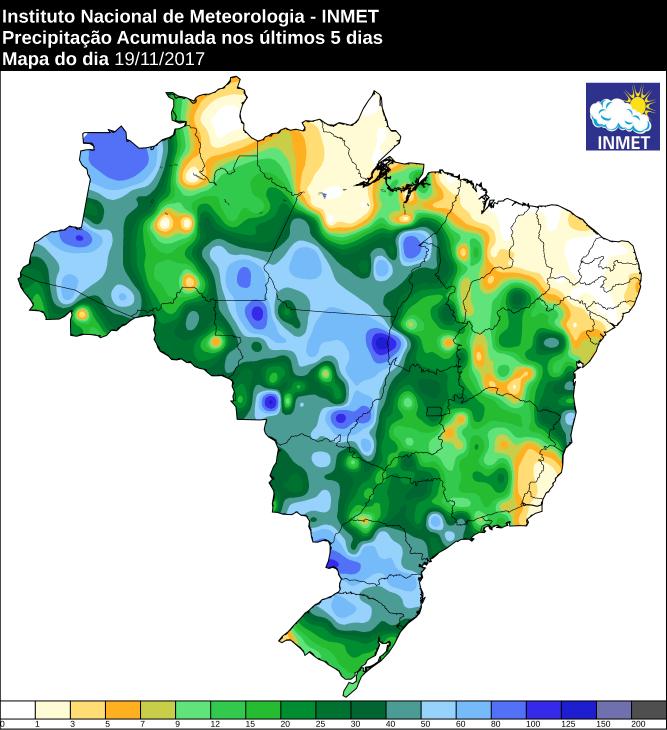 mapa com a precipitação acumulada nos últimos 5 dias em todo o Brasil 20/11/2017 - Fonte: Inmet