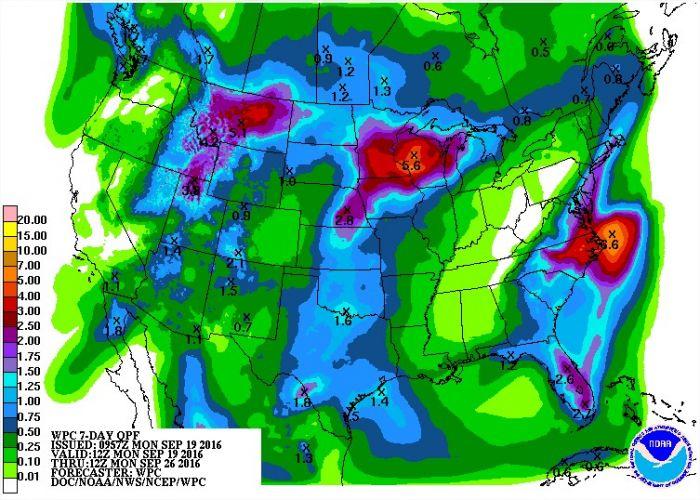 Chuvas nos próximos 7 dias nos EUA - Fonte: NOAA