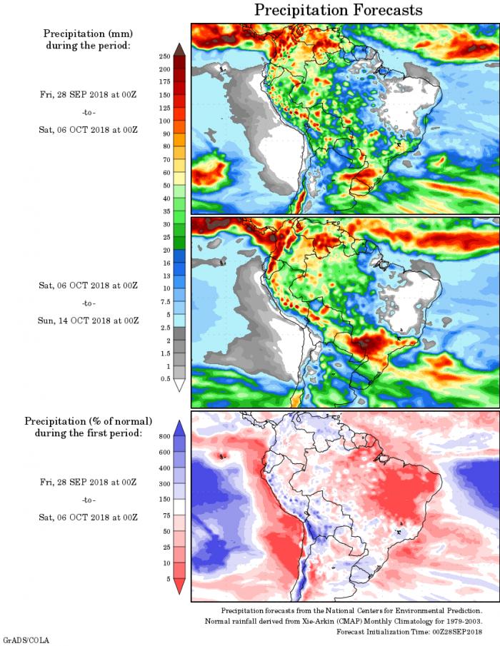 Mapa com a precipitação acumulada para o período de 27 de setembro até 13 de outubro - Fonte: National Centers for Environmental Prediction/NOAA