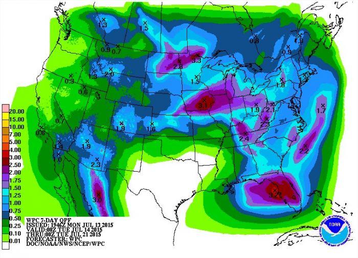 Chuvas nos EUA entre os dias 14 a 21 - Fonte: NOAA