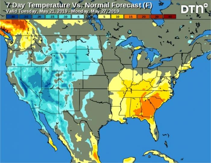 Temperaturas EUA 7 dias - DTN