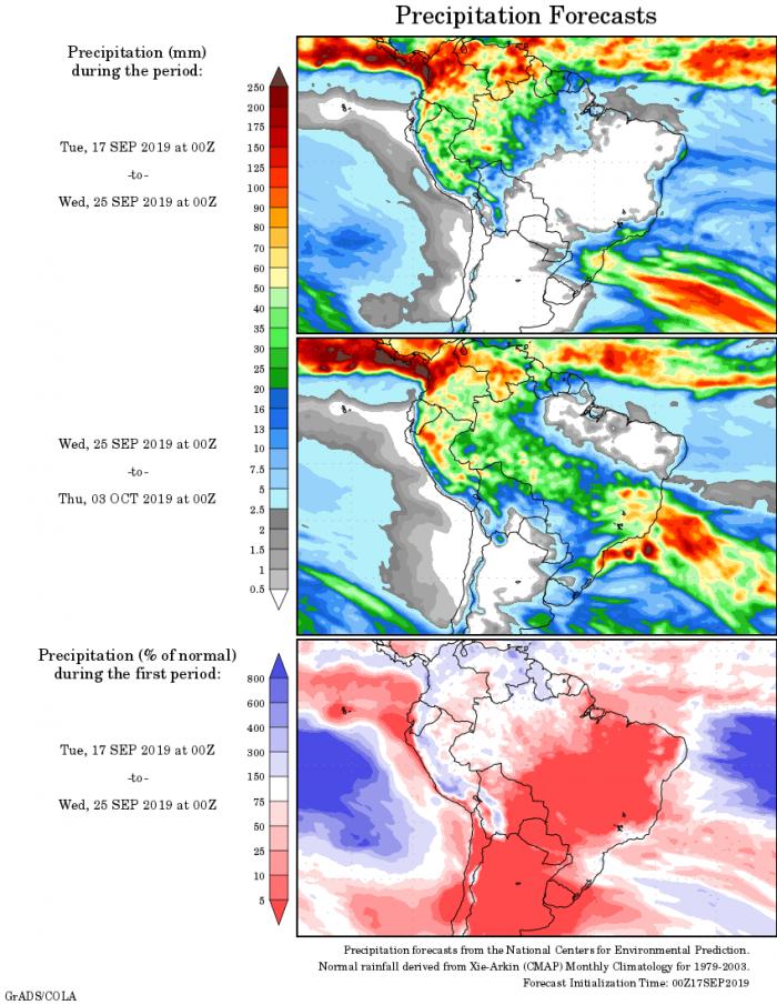 Mapa com a tendência de precipitação acumulada para o período de 17 de setembro até 03 de outubro - Fonte: National Centers for Environmental Prediction/NOAA