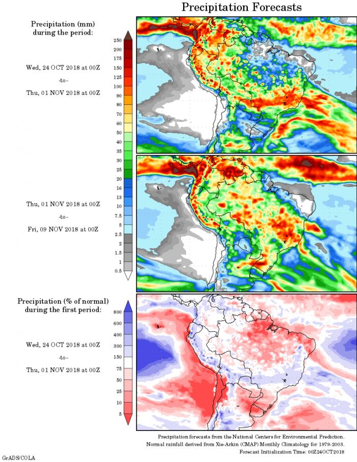 Mapa com a precipitação acumulada para o período de 24 de outubro 09 de novembro - Fonte: National Centers for Environmental Prediction/NOAA