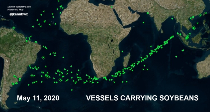 Navios de soja Brasil-EUA Maio 2020