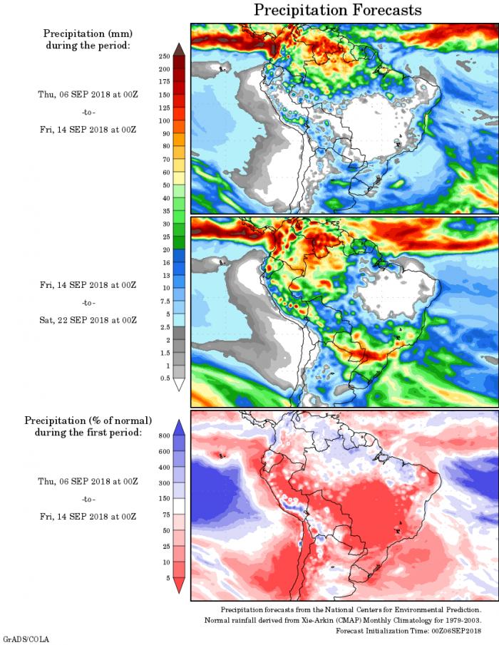 Mapa com a precipitação acumulada para o período de 06 de agosto até 22 de setembro - Fonte: National Centers for Environmental Prediction/NOAA