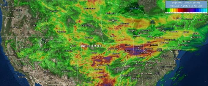 Chuvas acumuladas nas últimas 72h EUA