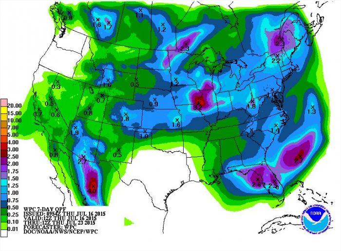 Previsão de Chuvas nos EUA nos próximos 7 dias - Fonte: NOAA