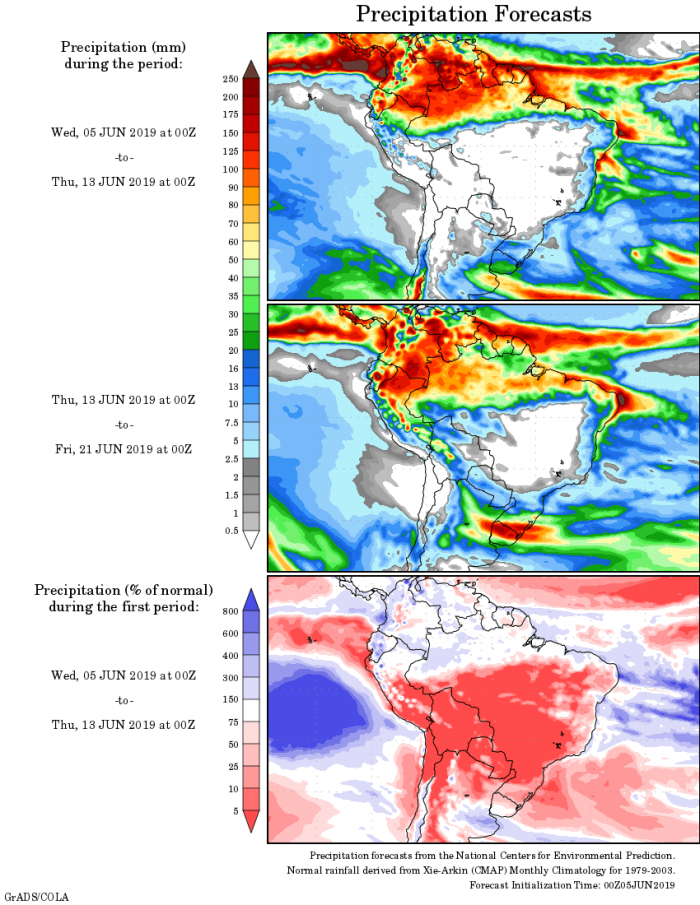 Mapa com a tendência de precipitação acumulada para o período de 05 até 21 de junho - Fonte: National Centers for Environmental Prediction/NOAA