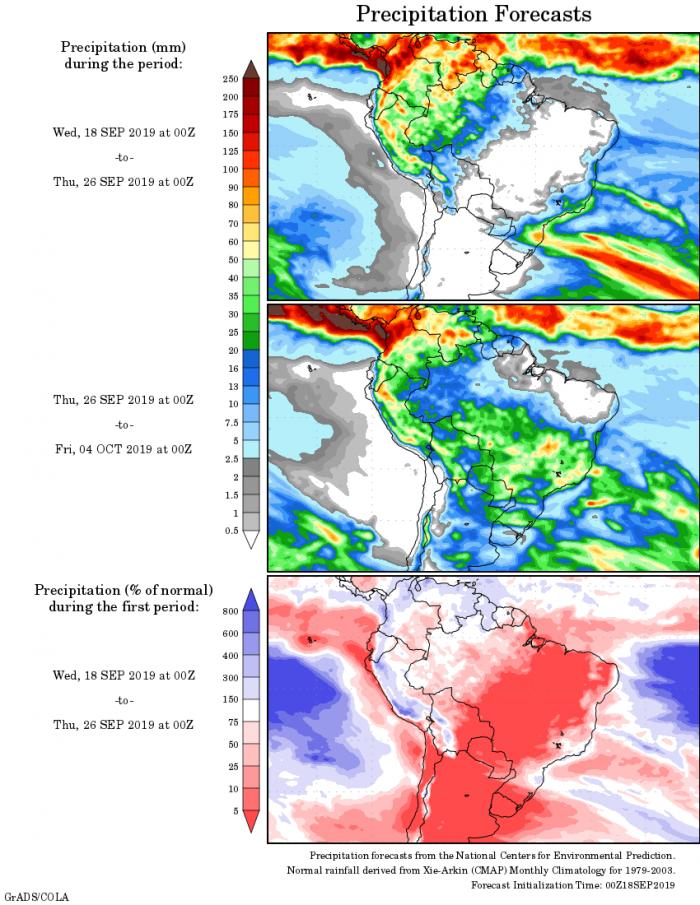 Mapa com a tendência de precipitação acumulada para o período de 18 de setembro até 04 de outubro - Fonte: National Centers for Environmental Prediction/NOAA