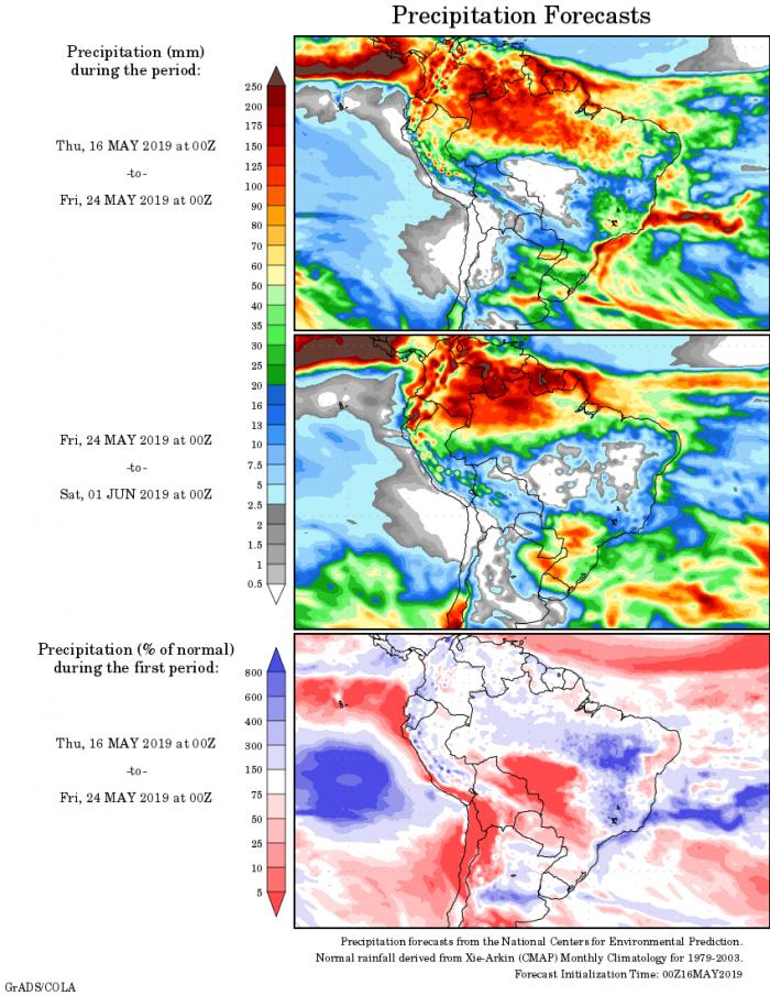 Mapa com a tendência de precipitação acumulada para o período de 16 de maio até 01 de junho - Fonte: National Centers for Environmental Prediction/NOAA
