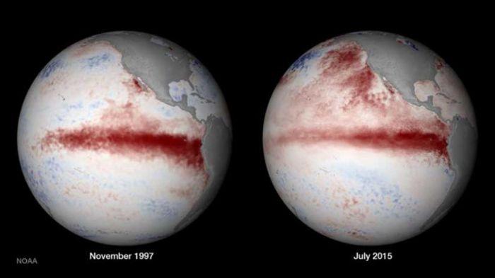 Comparação do El Niño de 1997 com o de 2015 - Fonte: NOAA