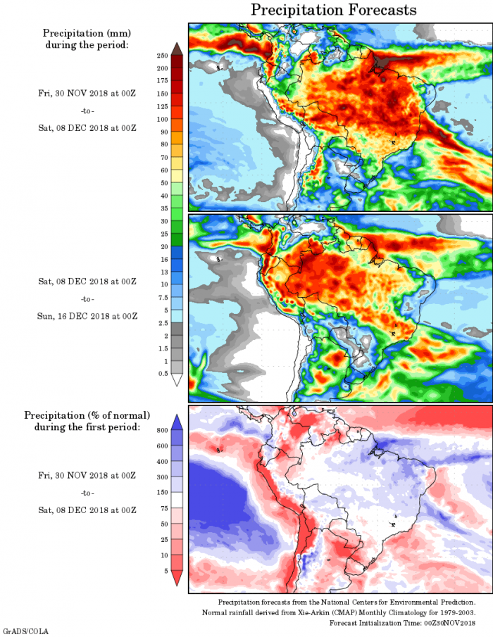 Mapa com a precipitação acumulada para o período de 30 de novembro até 16 de dezembro - Fonte: National Centers for Environmental Prediction/NOAA