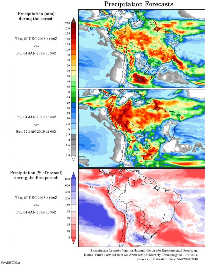 Mapa com a tendência de precipitação acumulada para o período de 27 de dezembro até 12 de janeiro - Fonte: National Centers for Environmental Prediction/NOAA