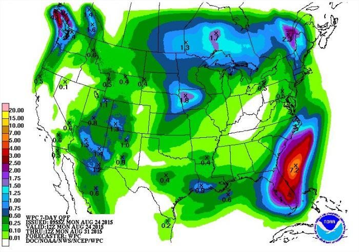 Chuvas previstas nos EUA entre os dias 24 a 31 de agosto - Fonte: NOAA