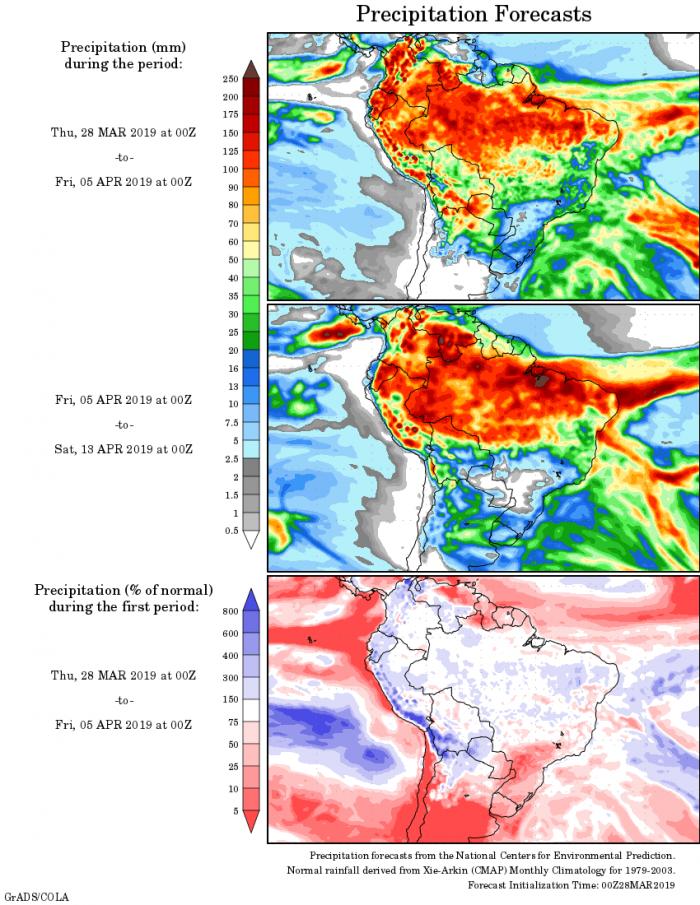 Mapa com a tendência de precipitação acumulada para o período de 28 de março até 13 de abril - Fonte: National Centers for Environmental Prediction/NOAA