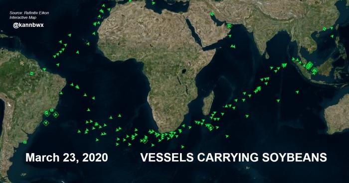 Navios de soja Brasil-EUA Março 2020