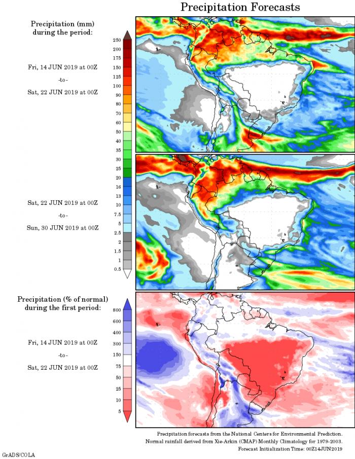 Mapa com a tendência de precipitação acumulada para o período de 14 até 30 de junho - Fonte: National Centers for Environmental Prediction/NOAA