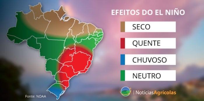 Efeitos do El Niño - Fonte: NOAA / Notícias Agrícolas