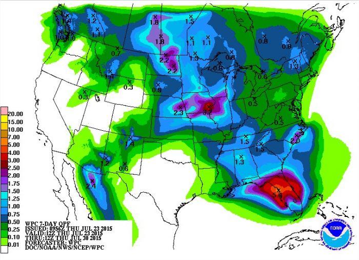 Previsão para os próximos 7 dias nos EUA - Fonte: NOAA